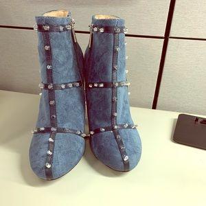 Designer boots sky blue suede